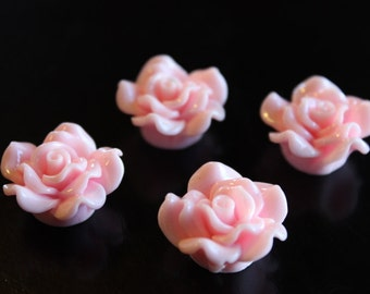 4 rose resin beads, pink, 24 x 13 mm, hole 1.5 mm