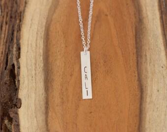 Cali Vertical Bar Necklace, California Bar Necklace, Sterling Silver California Necklace, Cali Silver Bar Necklace, Cali Love