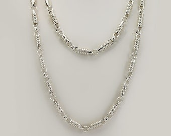 Handmade Silver Chain Link Necklace, Sterling Silver Necklace, Silver Choker