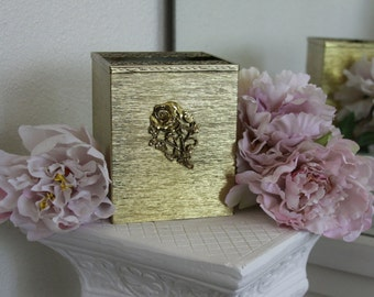 Gold Rose Metal Tissue Box Cover by Stylebuilt