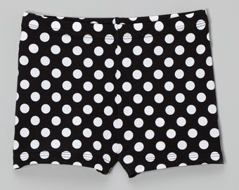 Black and white polka dot booty shorts for dance/gym