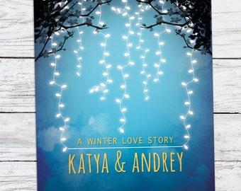 Winter Love Story Wedding Invitation Printable DIY