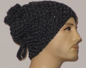 Crochet hat in two shades of grey - rear linked to