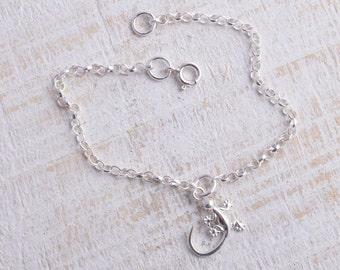 Sterling silver chain gecko lizard bracelet sterling silver 925 bracelet