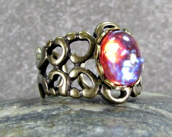 Dragons Breath Opal Ring with Oxidized Brass Filigree Adjustable Band- Gothic Jewelry- Gift for Teens- Guy Boyfriend Gift