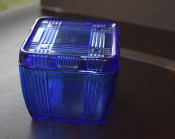 Hazel Atlas Criss Cross Blue Glass Refrigerator container 4x4x4