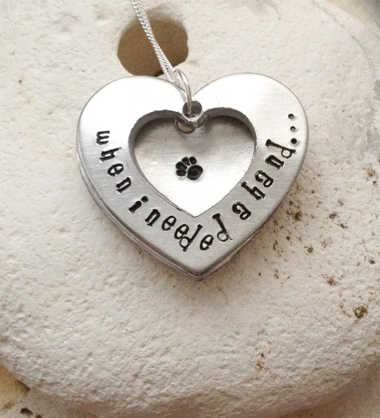 """Dog necklace - cat necklace - handstamped animal lovers gift -When I needed a hand, I found your paw, heart shaped open locket on 18"""" chain"""