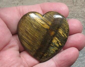 Tigereye Flat Heart, 45 mm - Item 72533s