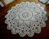Off white Giant 3D Crochet Doily Rug, floor rug, large area round rug, Rustic chic home decor 86 inc