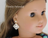 Lacey White Ear Dangles for 18 inch Girl Dolls, American Made, antique white glamour jewelry, Valentine's Day fancy outfit, dainty accessory