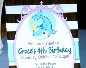 NARWHAL Birthday Invitations - Custom Personalized Printable Download - Boys