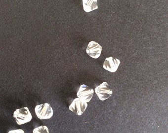 Supplies, Swarovski Crystal beads, 6mm bicone beads, Clear crystal, pack of 10.
