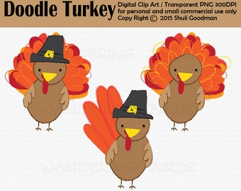 Doodle Turkey Clipart For Personal and Commercial Use, Digital ClipArt, Instant Download, fall, harvest, autom, thanksgiving clipart