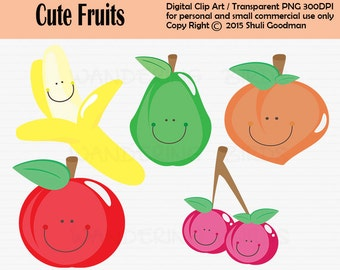 Cute Fruits Clipart For Personal and Commercial Use, Digital Clip Art, Instant Download, peach clipart, banana clipart, pear clipart, apple