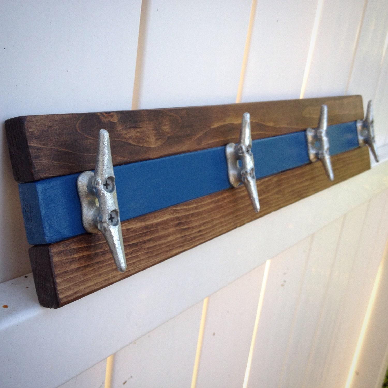 Nautical Walnut And Blue Boat Cleat Coat Rack, Towel Rack, Hat Rack, Book  Bag Rack, Or Key Rack Part 76