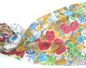 Poppy silk scarf. Bunch of Poppies Flowers Hand painted silk scarf, painted red blue gray scarf Handpainted silk scarf, batik. READY to SHIP