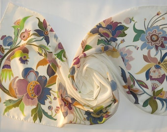 White Silk scarf with floral motifs by Folk art. Hand painted silk scarf, decorative paintings Batik silk painting