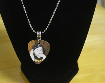 Photo Pick Necklace, Photo Guitar Pick, Memorial Jewelry, Bereavement Jewelry, Memory Jewelry. Sympathy Jewelry, Personalized Guitar Pick