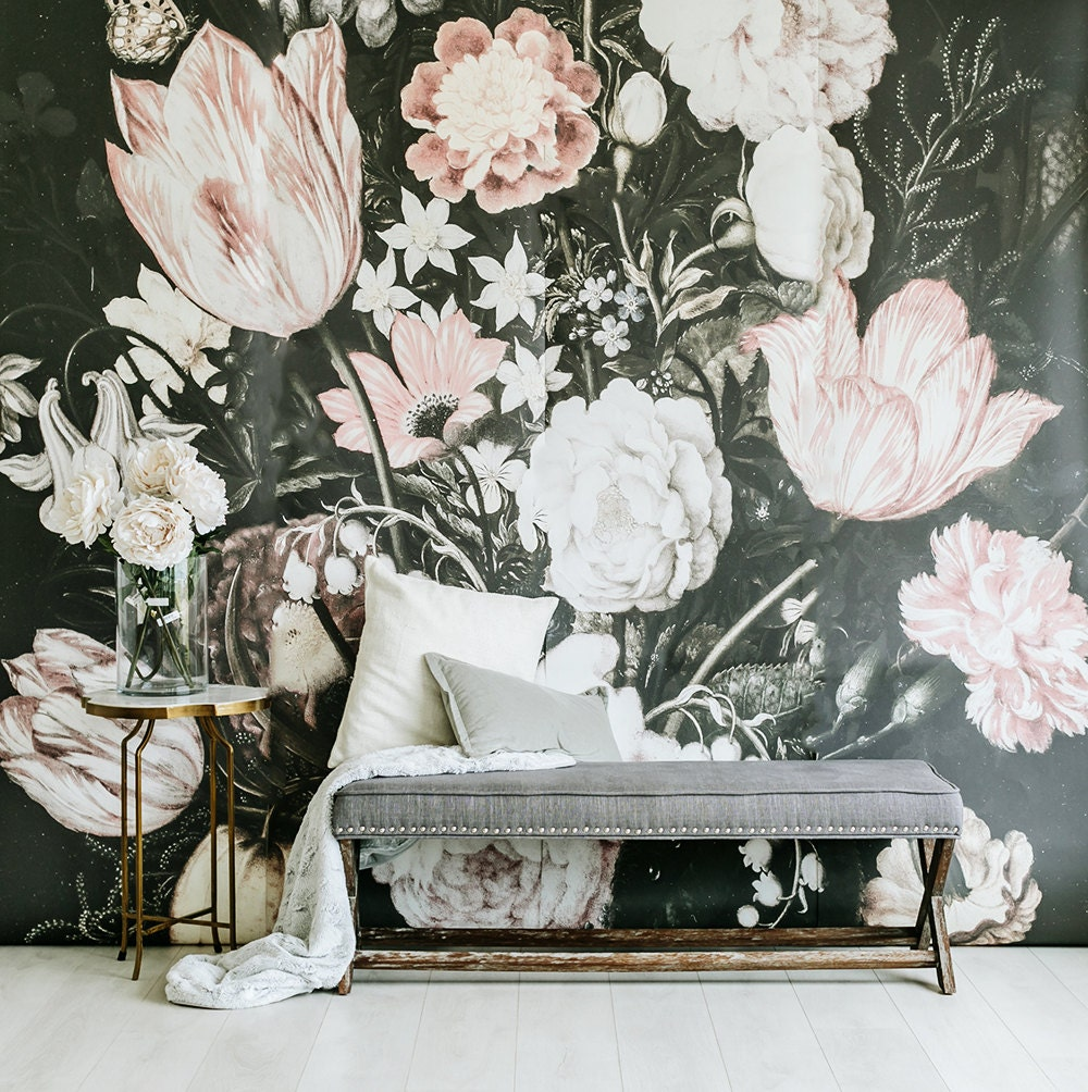 Blossoms large wall mural large flowers mural dark for Mural flower