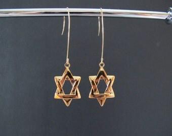Long Star of David Gold Earrings