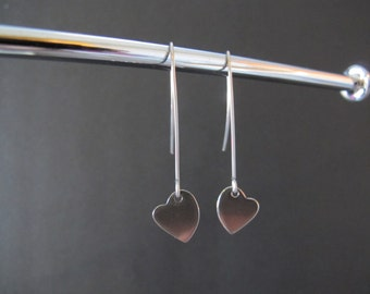 All Stainless Steel Delicate Heart Earrings