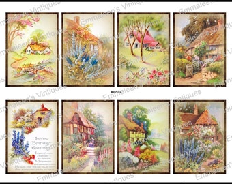 Vintage Victorian Shabby Country Cottages Labels Tags Waterslide Decals~ MIS553