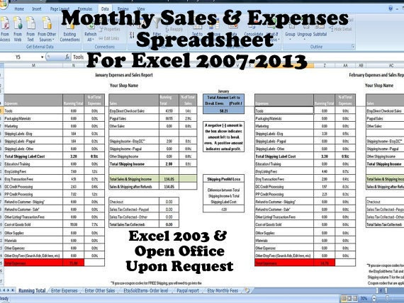 Monthly Sales and Expenses Spreadsheet Summarizes Etsy &