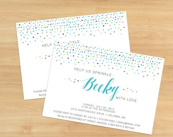 Printable Colorful Sprinkle With Love Bridal Shower Invitation Design