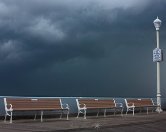 Photos of Ocean City, Beach Photography, Benches, Boardwalk Photos, Summer Storm, Storm Clouds, Seascape Photography