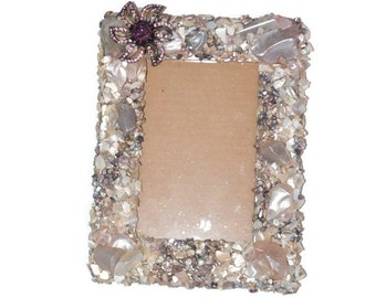 Picture Frame Unique Handmade Shell Frame Pale Pink Purple Shell Frame