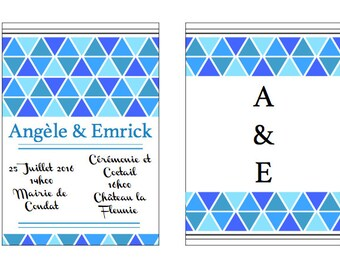 Blue geometric announcements, triangle, blue trend