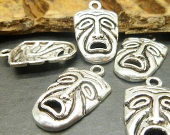 5 Silver Mask Charms - Tiki Charms in Antique Tibetan Silver Tone -MC0871