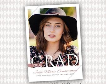 2016 Grad Announcement Template, Instant Download Graduation Announcement Photoshop File Photo Card