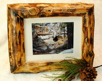 Skipped Peeled Burnt Pine Picture Frame