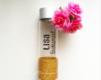 Custom Glittered Water Bottle// Bridemaid