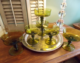 "RETRO ""Avocado Green"" DESSERT / SHERBET Stemmed Glasses, 1970s Servingware"