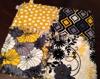 Yellow and gray rag quilt - yellow and gray lovey - yellow and gray security blanket - yellow and gray tag quilt