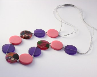 Purple & Pink Coin Resin Bead Necklace on Silver Waxed Cotton
