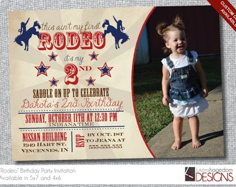 Rodeo Birthday Invitation with Picture - Custom Colors Available - Digital File