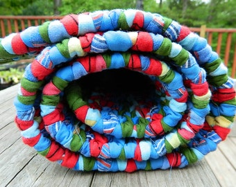 Twined Rag Rug in Reds, Blues, Yellows, Greens and More