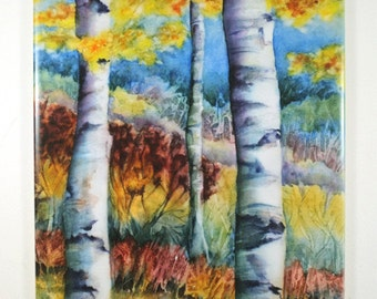 Fall Birch Trees  Landscape Watercolor Tile Hangable
