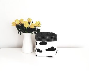 Fabric storage basket, organizer, clouds, black and white. Nappy basket, toy storage, nursery decor, kids room. Baby shower gift.