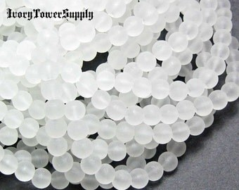1 Strand 6mm Beads, Frosted Glass Beads, Round Beads, Clear Beads, White Beads, Transparent Glass Bead Strands