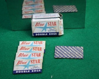Vintage unused + one Blue Star double edge razor blade pack of (4) 10 cents