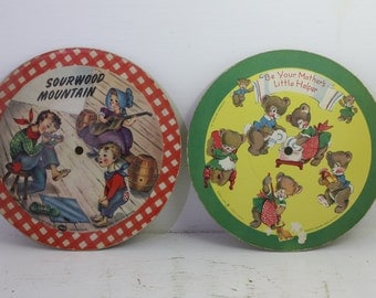 Vintage  pair of 1949 Voco ranger cardboard  Lithograph children records 4 different songs