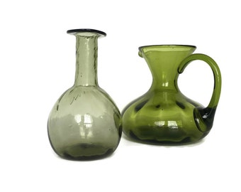 Vintage handblown glass pitcher and bottle instant collection green