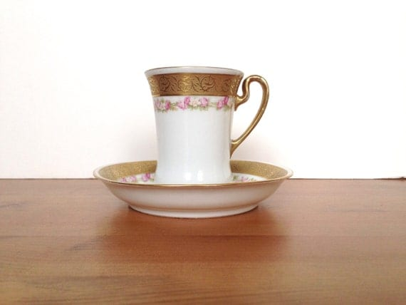 Vintage Royal Bayreuth porcelain cup and saucer gold gild and roses