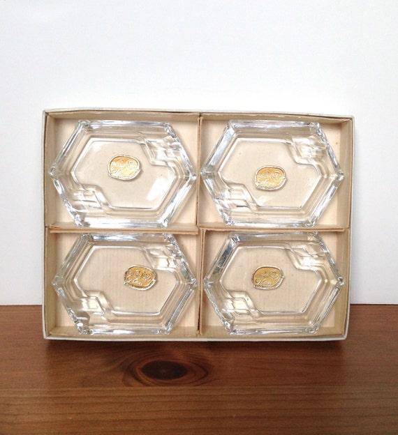 Vintage Bohemia glass ashtray set mid century original box and labels