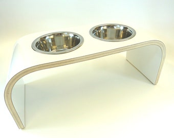 White Raised Pet Feeder - Curved Design available in various sizes