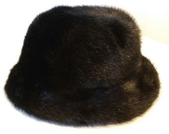 Neusteters Vintage Women's Black Fur Hat Union Made in USA